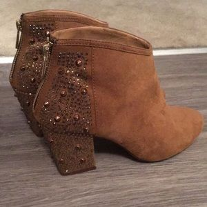 Zara booties faux suede with crystals size 7